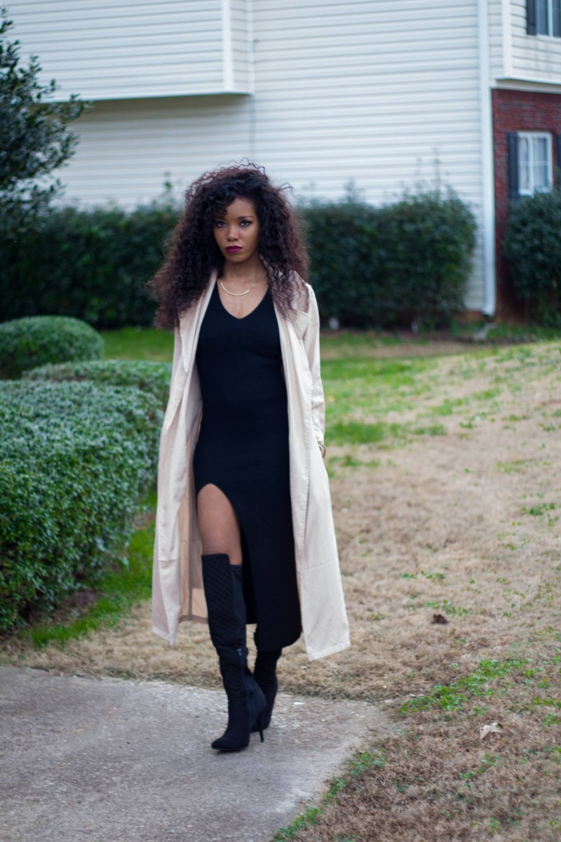 black maxi trench coat