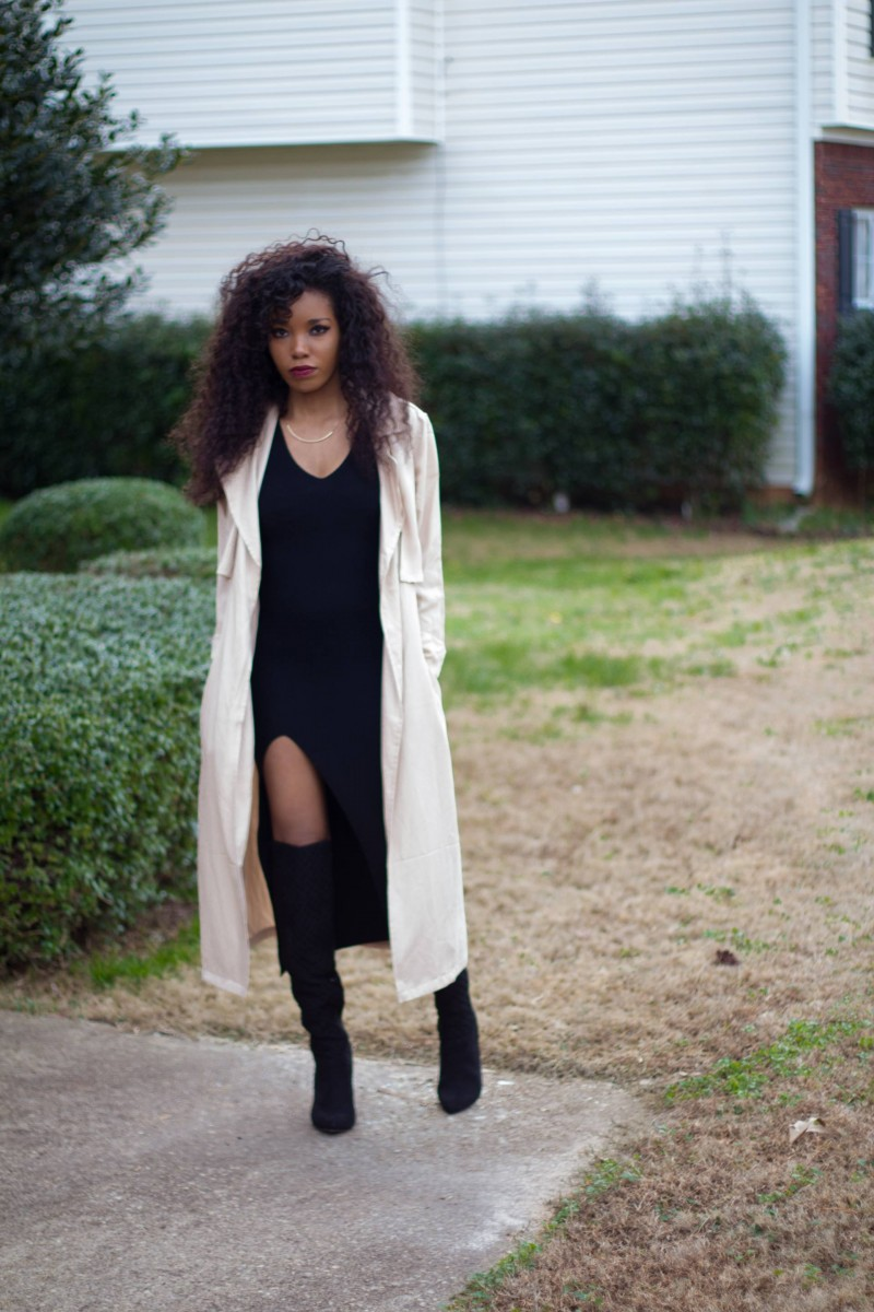 black maxi trench